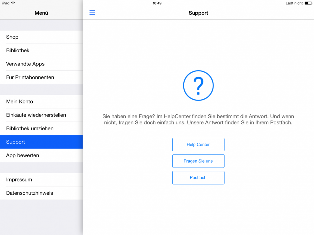 Apple App Supportbereich
